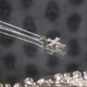 14kt Gold Dipped Swarovski Baguette Cross Necklace